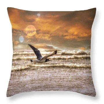 Throw Pillow featuring the photograph Ocean Flight by Aaron Berg