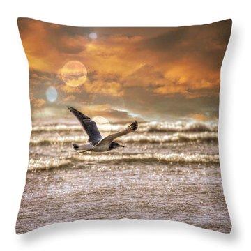 Aaron Berg Photography Throw Pillow featuring the photograph Ocean Flight by Aaron Berg