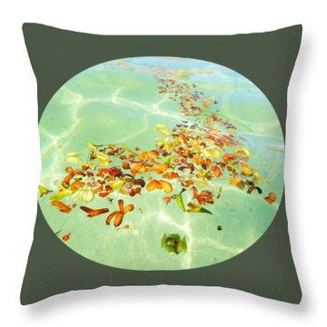Ocean Flowers Oval Throw Pillow by Linda Hollis