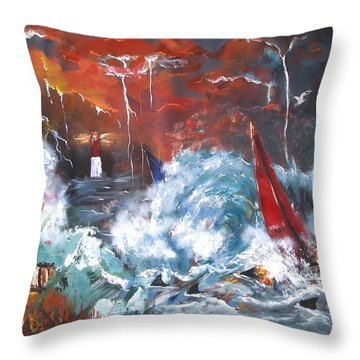 Ocean Fury Throw Pillow