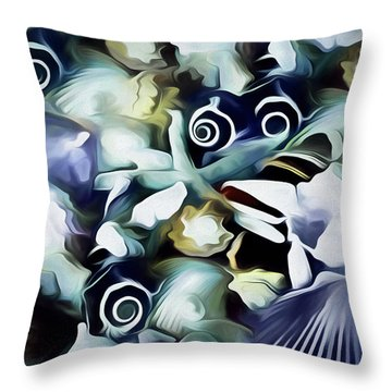 Throw Pillow featuring the mixed media Ocean Gems 21 by Lynda Lehmann