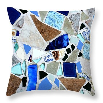 Ocean Glass Mosaics Throw Pillow by Elizabeth Robinette Tyndall