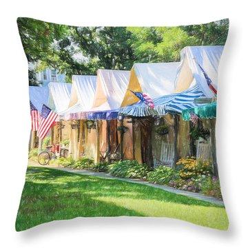 Ocean Grove Tents Sketch Throw Pillow