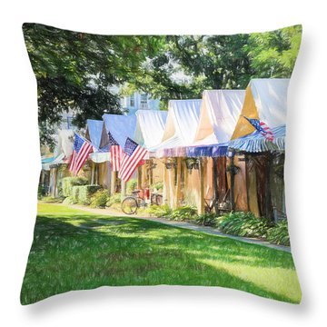 Ocean Grove Tents Sketch Throw Pillow