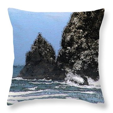 Ocean Haystack Rock Throw Pillow by Methune Hively