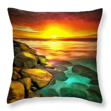 Ocean Lit In Ambiance Throw Pillow