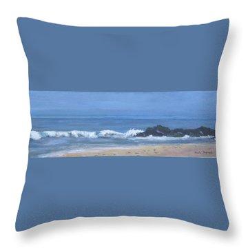 Ocean Meets Jetty Throw Pillow