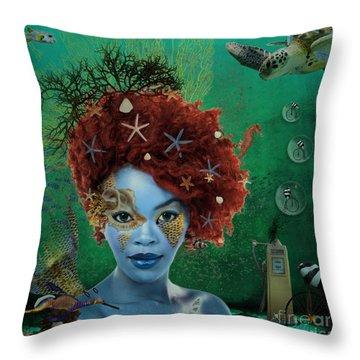 Throw Pillow featuring the digital art Ocean by Nola Lee Kelsey