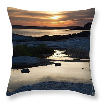 Ocean Point Sunset In East Boothbay Maine  -23091-23093 Throw Pillow