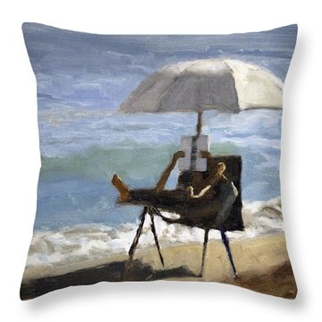 Ocean Reader Throw Pillow