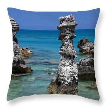 Ocean Rock Formations Throw Pillow by Sally Weigand