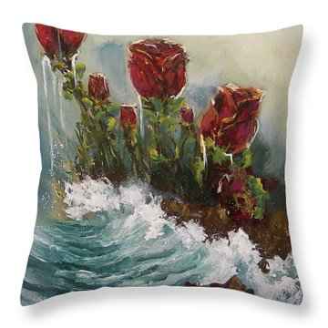 Ocean Rose Throw Pillow
