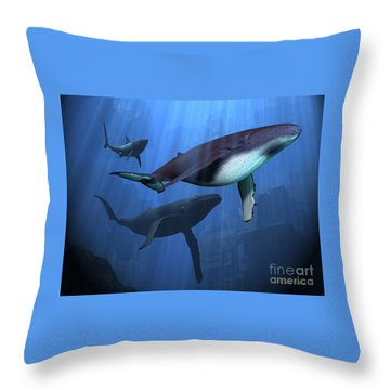 Ocean Ruins Throw Pillow by Corey Ford