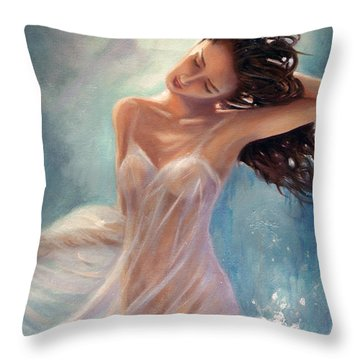 Throw Pillow featuring the painting Ocean Serenade by Michael Rock