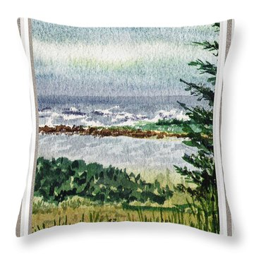 Ocean Shore Window View Throw Pillow