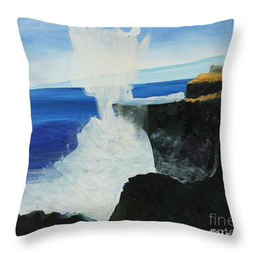 Ocean Spray At Blowhole Throw Pillow by Katie OBrien - Printscapes