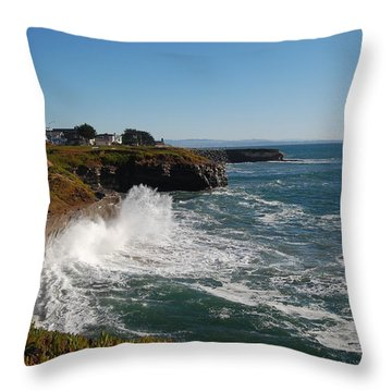 Ocean Spray In Santa Cruz Throw Pillow