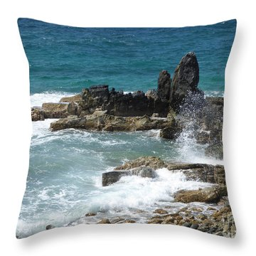 Ocean Spray Mid-air Throw Pillow by Margaret Brooks