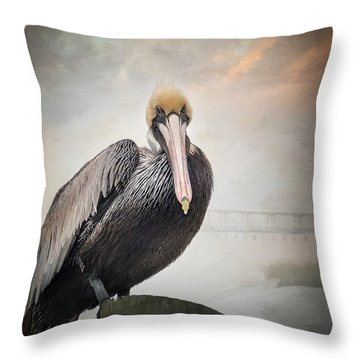 Ocean Springs Pelican Throw Pillow