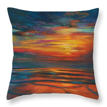 Throw Pillow featuring the pastel Ocean Sunrise by Karen Kennedy Chatham