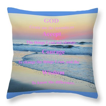 Ocean Sunrise Serenity Prayer Throw Pillow