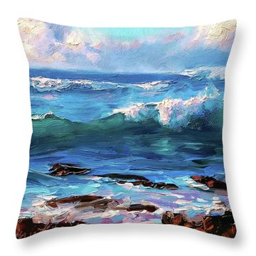 Coastal Ocean Sunset At Turtle Bay, Oahu Hawaii Beach Seascape Throw Pillow