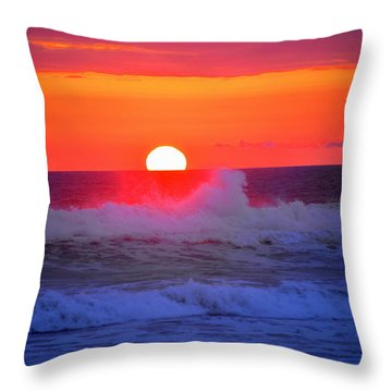 Throw Pillow featuring the photograph Ocean Sunset by Jerry Cahill