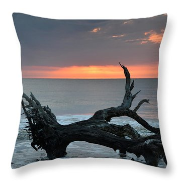 Ocean Treescape At Sunrise Throw Pillow by Bruce Gourley