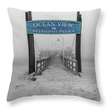 Ocean View Pier Partial Color Throw Pillow