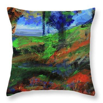 Throw Pillow featuring the painting Ocean View Through The Forest by Walter Fahmy