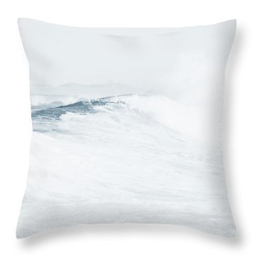 Throw Pillow featuring the photograph Ocean Wave. Series Ethereal Blue by Jenny Rainbow