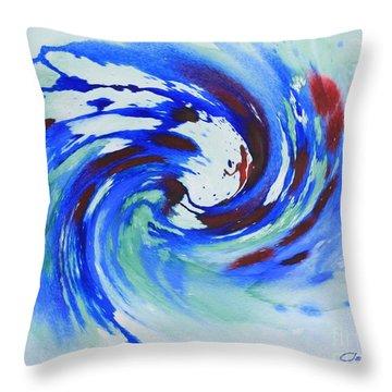Ocean Wave Watercolor Throw Pillow