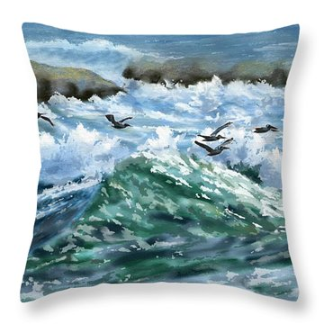 Ocean Waves And Pelicans Throw Pillow
