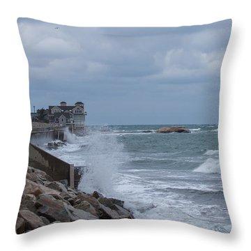 Ocean Waves At Minot Beach Throw Pillow