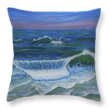 Throw Pillow featuring the painting Ocean Waves Dance At Dawn Original Acrylic Painting by Georgeta Blanaru