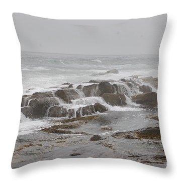 Ocean Waves Over Rocks Throw Pillow