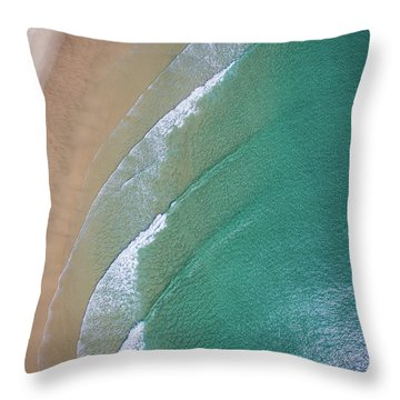 Ocean Waves Upon The Beach Throw Pillow