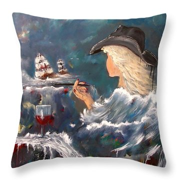 Ocean Wine Throw Pillow