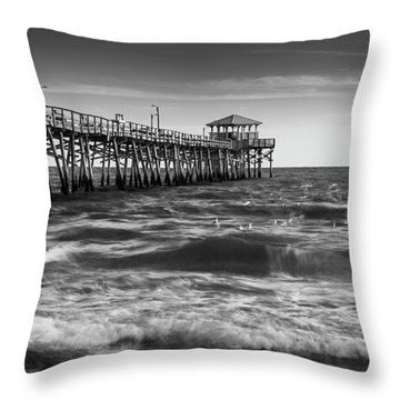 Throw Pillow featuring the photograph Oceana Ocean Crest Fishing Pier In Nc Panorama In Bw by Ranjay Mitra