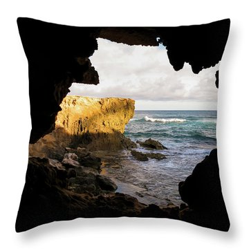 Oceanfront Cave Throw Pillow