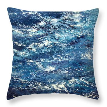 Ocean's Blue Throw Pillow by Valerie Travers