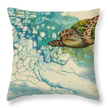 Throw Pillow featuring the painting Ocean's Call by Darice Machel McGuire