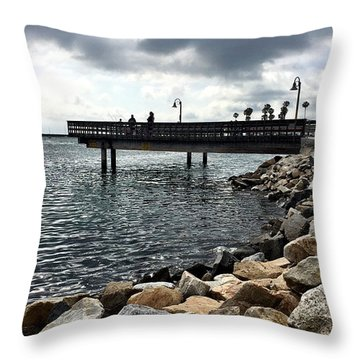 Oceanside Fishing Pier Throw Pillow by Jan Cipolla
