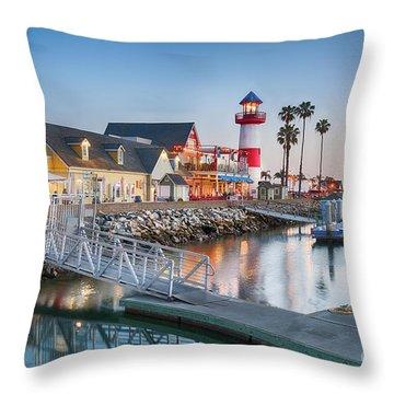 Oceanside Harbor Village At Dusk Throw Pillow