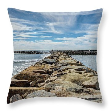 Oceanside Jetty Throw Pillow
