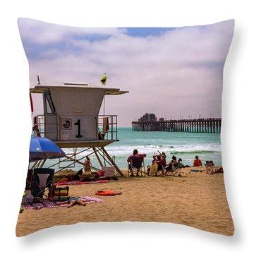Oceanside Lifeguard Throw Pillow