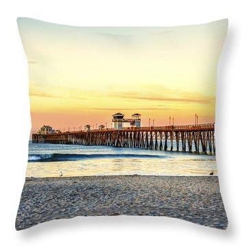 Oceanside Pier Sunrise Throw Pillow by Joseph S Giacalone
