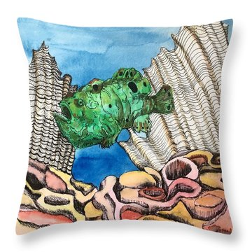 Ocellated Frogfish Throw Pillow