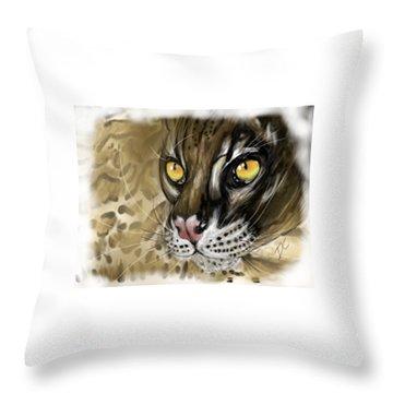 Throw Pillow featuring the digital art Ocelot by Darren Cannell