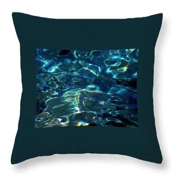 Ocean Water Reflections Island Santorini Greece Throw Pillow